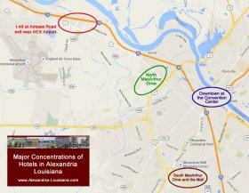 Map of significant Concentrations of Hotels in Alexandria Louisiana